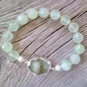 Authentic natural green druzy and jade bracelet